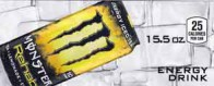 Monster Energy Rehab Lemonade can on ice small size 16 oz can flavor strip