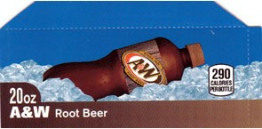 A&W Root Beer small size 20oz bottle flavor strip