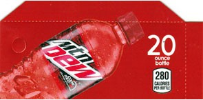 Mtn Dew Code Red small size 20oz bottle flavor strip